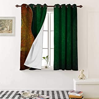 shenglv Guitar Room Darkening Wide Curtains Vintage Floral Instrument Pattern Acoustic with Worn Looking Wall Pattern Window Curtain Drape W108 x L72 Inch Emerald Orange Yellow