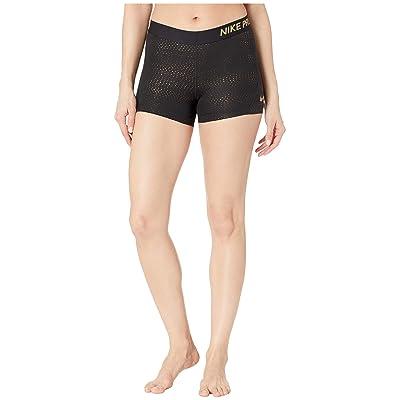 Nike Pro 3 Metallic Dots Shorts (Black/Metallic Gold) Women