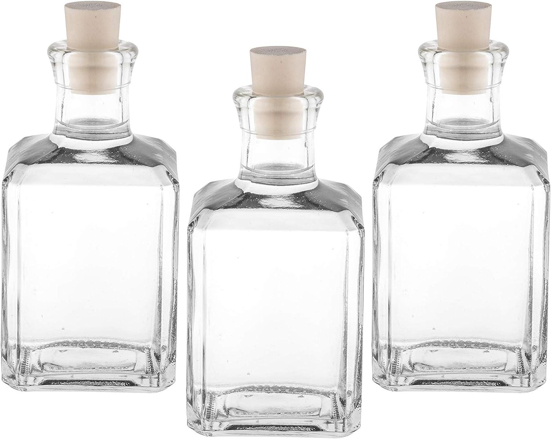 Casavetro Tapón de Corcho Transparente Botellas de Vidrio vacías 250 ml - Tapas de Corcho Recargables Reutilizables - Apretado al Aire para endrinas ...