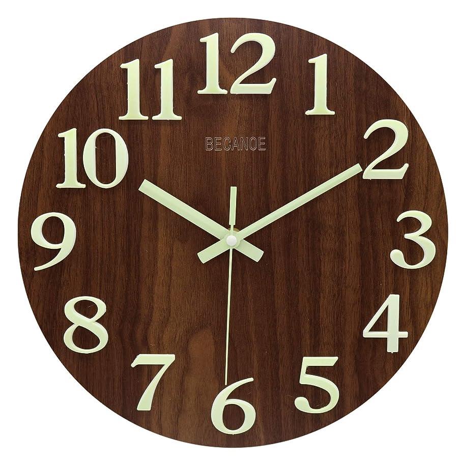 プロフェッショナル熟達したどんよりしたBECANOE 壁掛け時計 木製 立体数字 夜光 連続秒針 サイレント アナログ クロック 掛け時計 インテリア