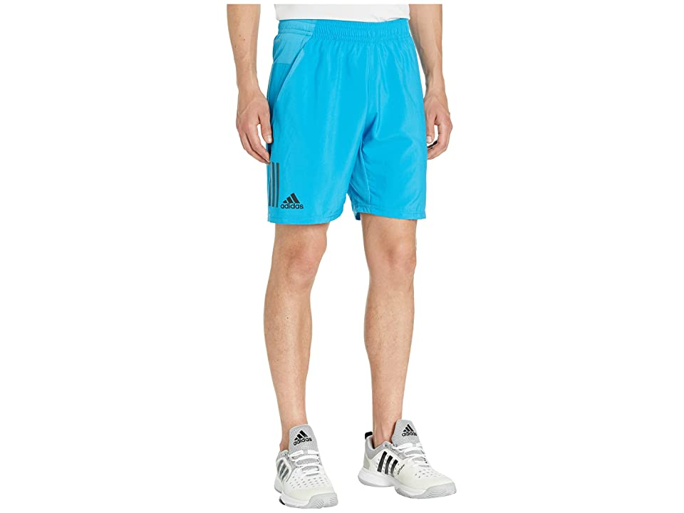 adidas Club 3-Stripes Shorts 9 (Shock Cyan/Black) Men's Shorts, Blue