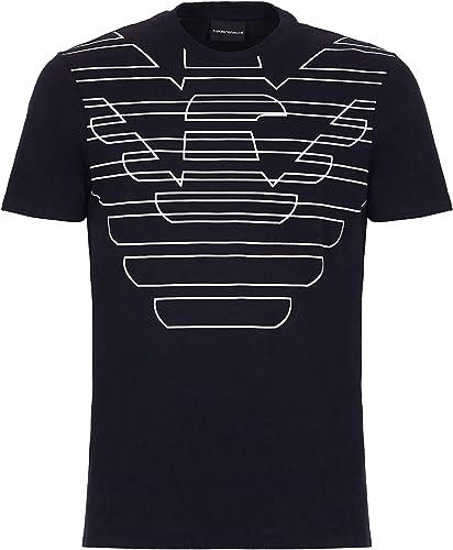 Emporio Arhommei T Shirt Homme Bleu Marine Aigle Logo T-Shirt Col Rond