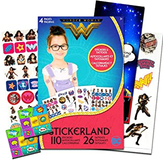 Wonder Woman Stickers and Tattoos Party Favors Set ~ 110 Stickers, 26 Temporary Tattoos, 2 PopArt Stickers  and Superhero Door Hanger (Wonder Woman Party Supplies)