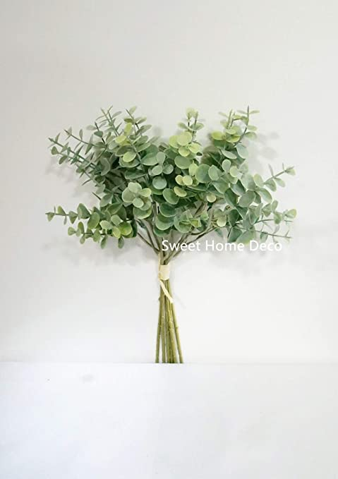 Bouquet artificiel Branche d/'Eucalyptus Faux Feuilles Plante Fête Decor #de