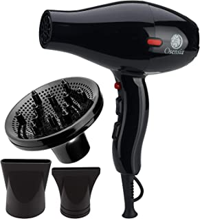 Professional Hair Dryer with Diffuser - 1875W Ionic Tourmaline Ceramic Blow Dryer for Silky, Frizz-Free Style with 2 Hair Dryer Concentrator Attachments - Curl Activator Diffuser by Osensia