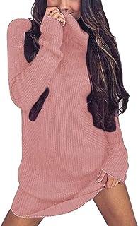 Minetom Mujer Otoño Invierno Suéter de Manga Larga Suelto Jersey de Cuello Alto Vestido de Punto
