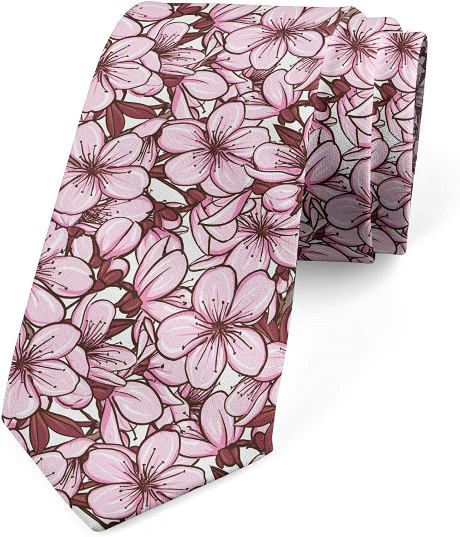 Ambesonne Necktie, Cherry Flowers Japan, Dress Tie, 3.7