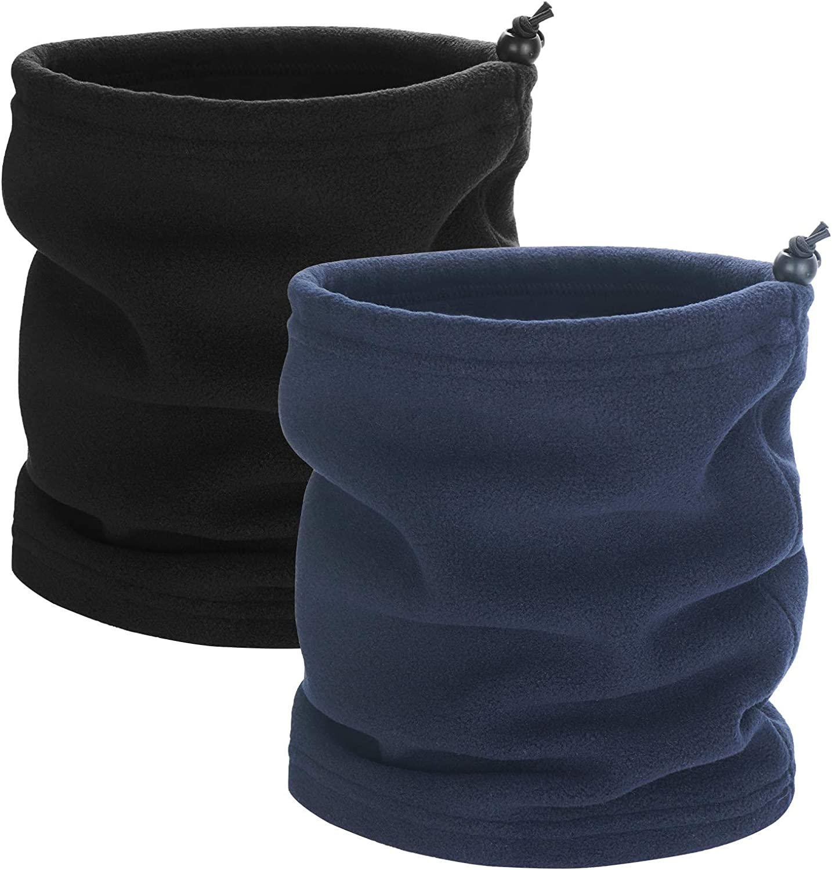 Neck Warmer for Men Headwear 2 Pack Winter Fleece Neck Gaiter Ski Tube Scarf Snowboard Half Face Cover Shield for Cold Weather