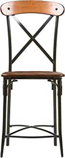 Baxton Studio Broxburn Light Brown Wood and Metal Bar Stool (Set of 2)