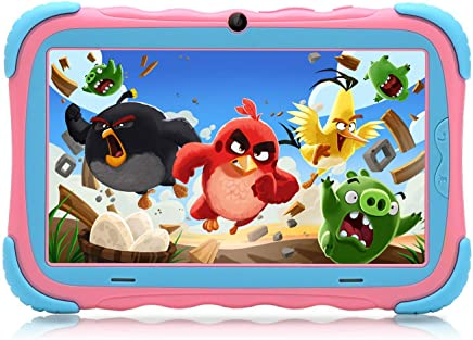 $64 Get Kids Tablet, 7 inch HD Eye Protection Screen, ZONKO Android Babypad PC with WiFi Camera Games Google Play Store Bluetooth, 16GB and Supported Micro SD Card, GMS Certified, Kid-Proof Case (Pink)