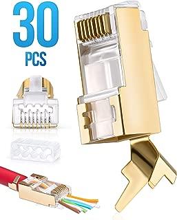 RJ45 Cat7 & Cat6/6A Pass Through connectors 30 Pcs | 8P8C 50UM Gold Plated Shielded Ftp/Sstp | EZ RJ45 Modular Plug for 24 - 23 AWG Ethernet Cable