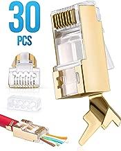 RJ45 Cat7 & Cat6/6A Pass Through connectors 30 Pcs   8P8C 50UM Gold Plated Shielded Ftp/Sstp   EZ RJ45 Modular Plug for 24 - 23 AWG Ethernet Cable