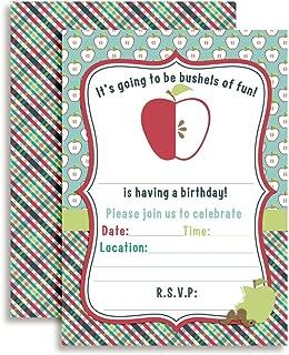 Bushels of Fun Fall Apple Birthday Party Invitations, 20 5