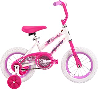 12 Inch Huffy Sea Star Kids Bike for Girls, Pink with Training Wheels