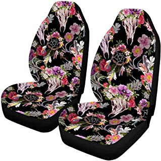 INTERESTPRINT Deer Skulls with Flowers and Dream Catchers Auto Seat Covers Full Set of 2, Bucket Seat Protector Car Seat Cushions for Car, SUV, Truck or Van