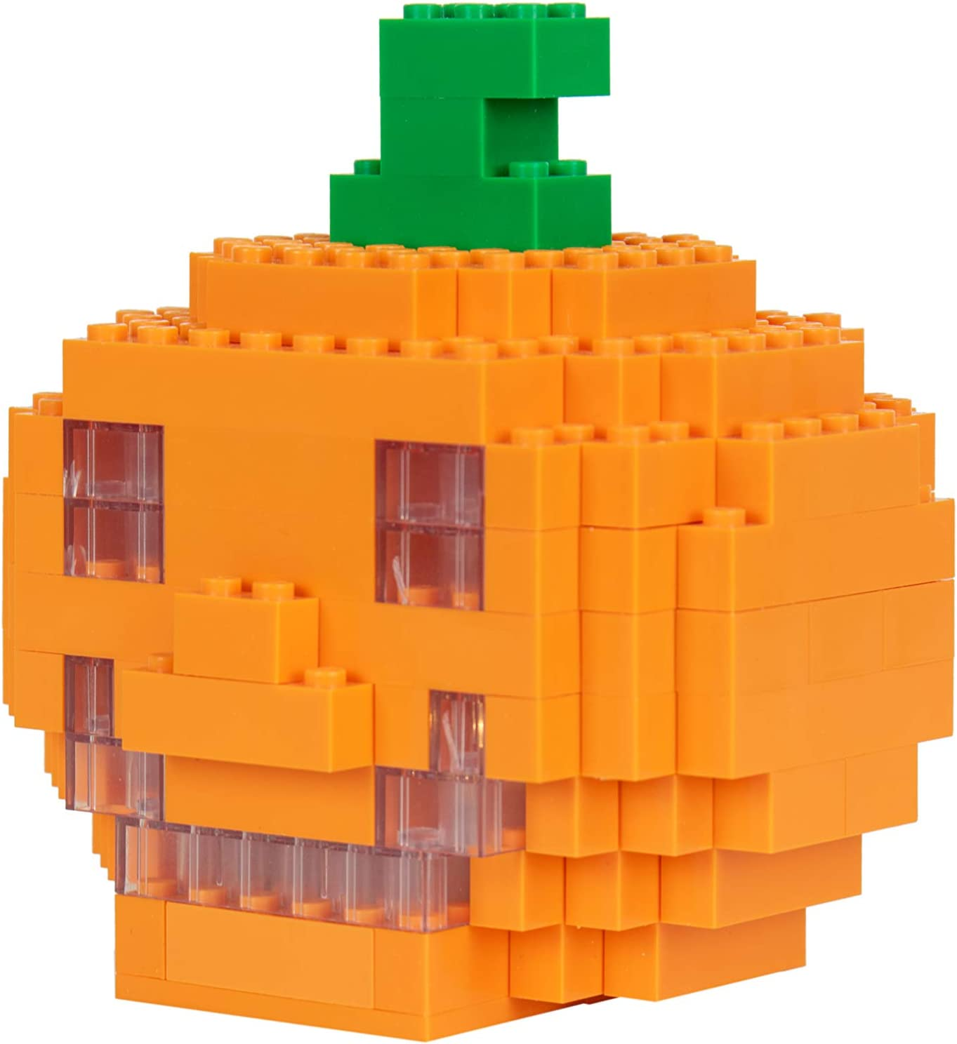 06 - Jack O Lantern w//Light Trick or Treat Construction Toy Stem Learning Create Grow More Compatible with All Major Building Brands Halloween Building Brick Parent Pumpkin and Ghosts
