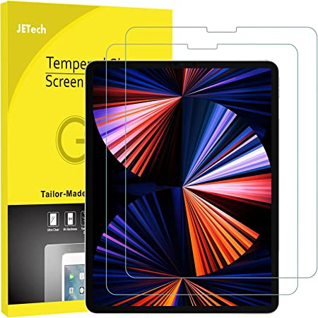 JETech Protector de Pantalla Compatible iPad Pro 12,9 Pulgadas 2021/2020/2018 Modelo, Borde a Borde Pantalla Liquid Retina, Vidrio Templado, 2 Unidades