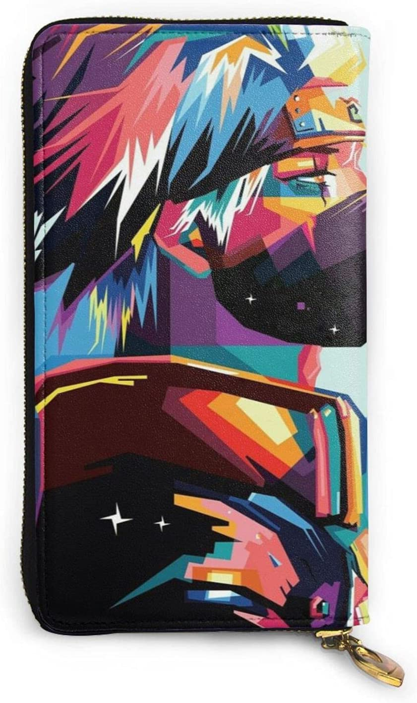 Hatake Kakashi Wallets for Women Men Exquisite Advanced Leather Zip Waterproof Multifunctional Wallet Clutch Bag