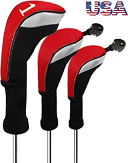 FINGER TEN Golf Club Head Covers Woods Driver Fairway Hybrid 3 Set, Headcovers Men Women Long Neck 1 3 5 7 X with Interchangeable Number Tag, Fit Nike Ping Mizuno Titleist 460CC