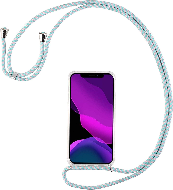 2ndSpring Coque avec Collier Compatible avec Huawei Honor 20 Lite//P Smart Plus 2019,Tour de Cou Lani/ère en Corde Pendentif Housse,Vert Fluorescent