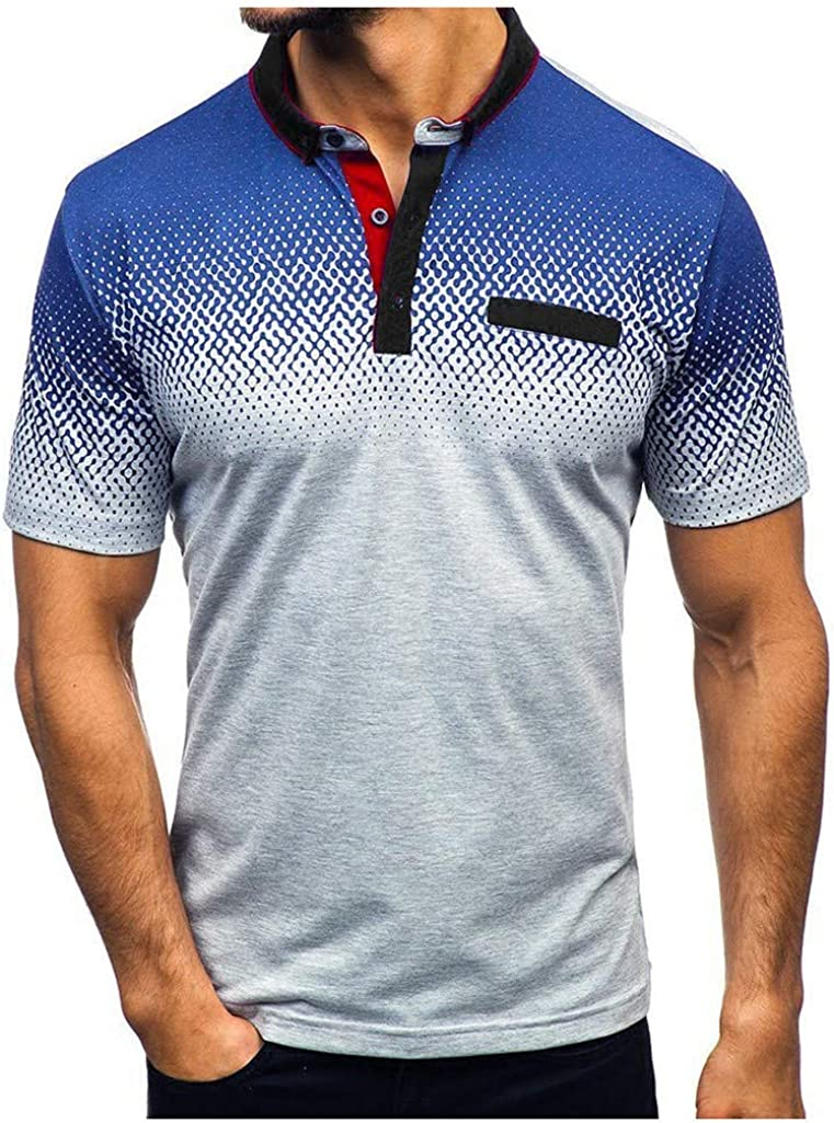Beautyfine Men's Gradient Short Sleeve Shirt Stripe Splicing Pattern Casual Lapel T-Shirts
