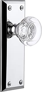 "Grandeur Fifth Avenue Plate with Bordeaux Crystal Knob, Passage - 2.375"", Bright Chrome"