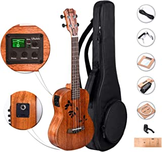 Caramel CT417 All Solid Mahogany Butterfly Style Tenor Acoustic Electric Ukulele with Truss Rod with Aquila strings, Padded Gig Bag, Strap and EQ cable