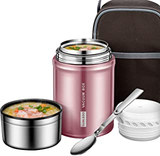 IAMGlobal Insulated Food Jar, Food Thermos, Meal Soup Container with Collapsible Spoon, Lunch Box, Double Wall Vacuum Lunch Containers, Stainless Steel Food Flask(27 oz) (Pink)