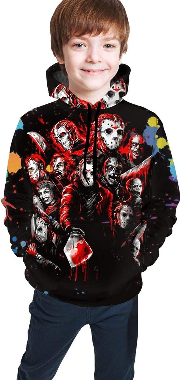 ETFDCDFEW Jason Voorhees Youth Boys Girls 3D Print Pullover Hoodies Hooded Seatshirts Sweaters 14-16 Years Black