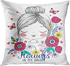 Lichtion Throw Pillow Covers Print Cute Romantic Girl Flowers Illustration Decorative Soft Bedroom Sofa Living Room Car Pillowcase Cushion Couch 18 x 18 Inch