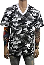 90210 Wholesale Men Heavy Weight V-Neck T-Shirt Blank Plain Tee Big & Comfy Camo