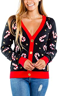 Women's Sequin Candy Cane Cardigan - Cute Candy Cane Ugly Christmas Sweater Cardigan