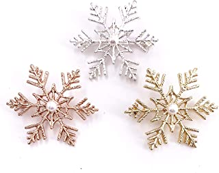 3PCS White&Golden&Rose Gold Winter Snowflake Pearl Brooch Pin for Women