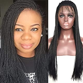 BLUPLE Micro Million Twist Lace Front Wig 24 Inches #1B Natural Black Synthethic Heat Resistant Hair Half Hand Tied Braided Wigs Free Part with Baby Hair for Black Women