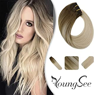 YoungSee 16inch Balayage Ombre Clip in Thick Extensions Double Weft Remy Human Hair Light Brown Fading to Platinum Blonde Ombre Clip on Hair Extensions Real Human Hair 120G/7Pcs