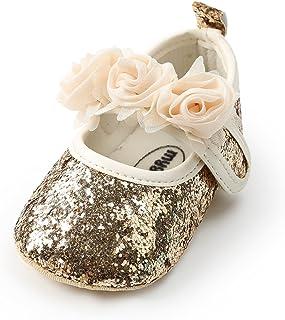 7f9d3299f699 Isbasic Baby Girls Flat Shoes Toddler Soft Sole Mary Jane Princess  Christening Baptism Crib Shoes