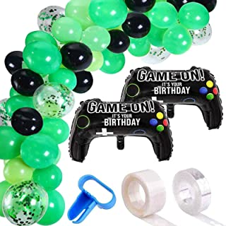 115 Pieces Video Game Party Balloon Arch Garland Kit - Black Green Confetti Balloons Decor, 16ft Balloon Strip Tape, 1pc T...
