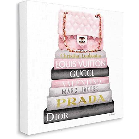 The Stupell Home Décor Collection Watercolor High Fashion Bookstack Padded Pink Bag Stretched Canvas Wall Art, 17 x 17, Multi-Color