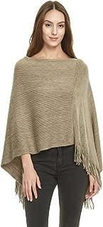 Women's Soft Knit Poncho Sweater, Elegant Fringe Cape Shawl in Multi-Way Neck Style
