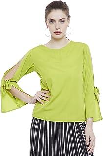 AASK Women's Lemon Color Plain Crepe Top (AK_4090)