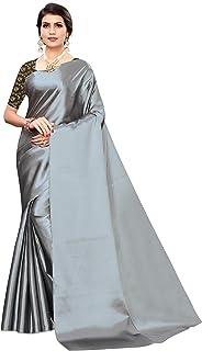 Craftstribe Art Silk Plan Gray Indian Diwali Gift Saree For Women