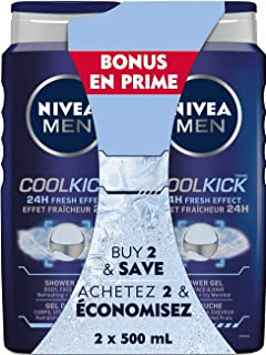 NIVEA MEN Cool Kick Shower Gel (2x500mL), 3 in 1 Body Wash for Use as Body and Hand Soap, Liquid Soap with 24H Cooling Effect