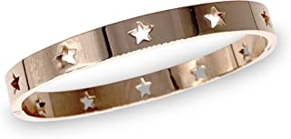 Bracelet with Laser Engraved Stars, Fashion Forward Stainless Steel Bangle – Non Tarnish