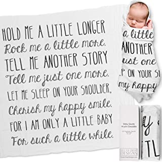 Ocean Drop 100% Cotton Muslin Swaddle Baby Blanket – 'Hold Me' Quote with Gift Box..