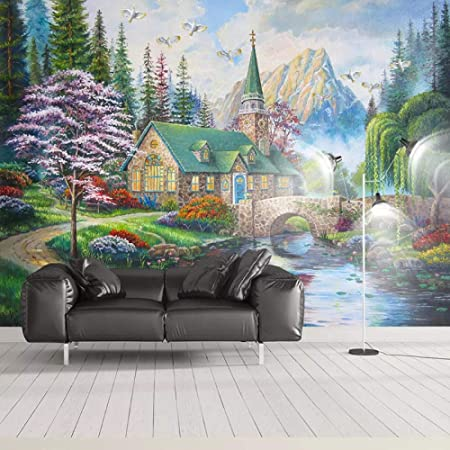 YTJBEI Photo Wallpaper Wall Mural -Forest hut 200 X 170 cm Non Woven Wall Mural Adults and Children Teen´s Room Office for Bedrooms 3D Mural Wall Decoration