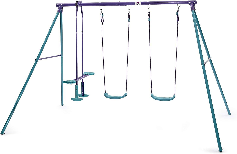 Plum Jupiter Outdoor Play Metal Garden Swing Set with Double Swi