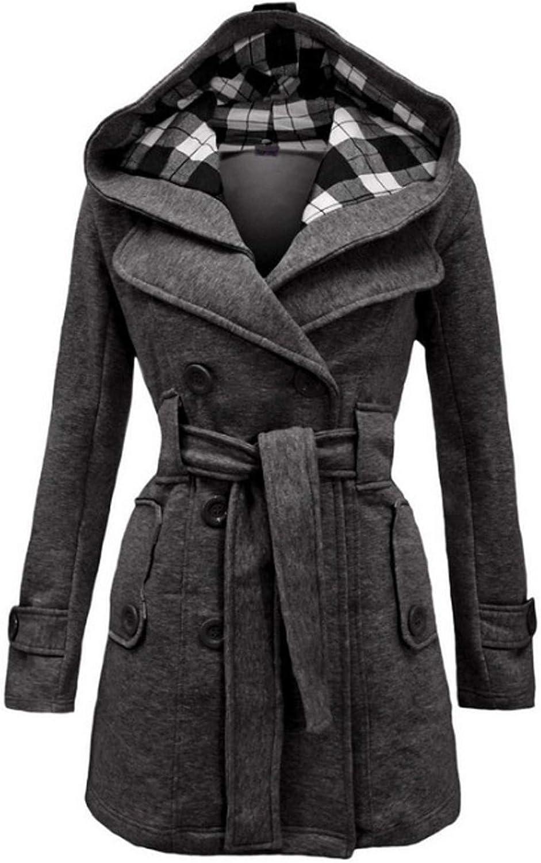 Hemlock Women Plaid Hooded Coat Winter Double Breasted Jacket Wool Trench Coat Pea Coat Slim Hooded Outwear Top