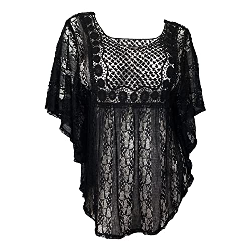 cf06f261e69d5b eVogues Plus Size Sheer Crochet Lace Poncho Top Made in USA