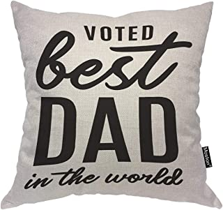 Moslion Happy Father`s Day Quote Pillows Best Dad in The World Beard Word Throw Pillow Cover Decorative Pillow Case Square Cushion Accent Cotton Linen Canvas Home 18x18 Inch
