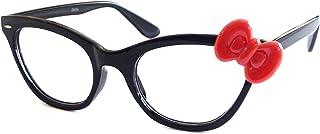 5479399d2 HELLO KITTY Style Women Nerd Cat Eye Trendy Frame Clear Lens Glasses  BLACK/RED